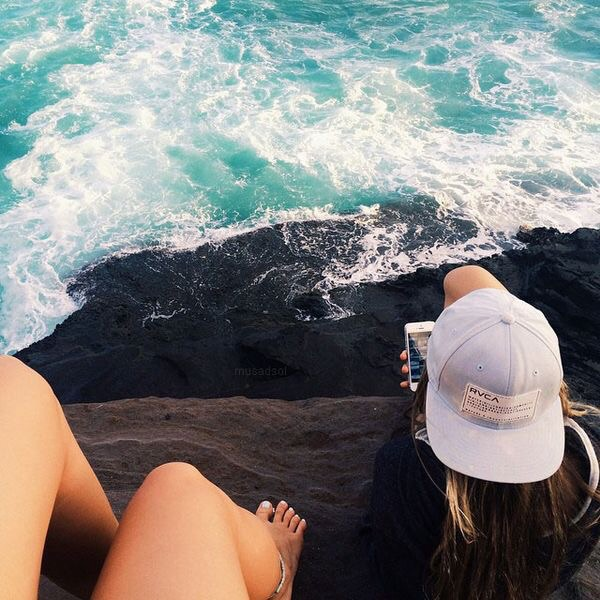 apple, boho, calm, cliff, girls, goals, hat, indie, inspiration, iphone, love, ocean, photography, relax, sea, summer, tan, thrill, waves