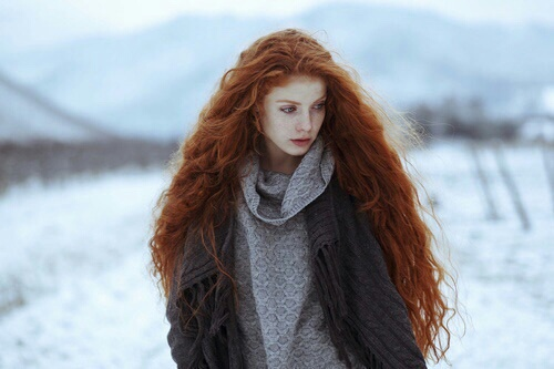 beauty, clothing, freckles, ginger, pale, redhead, winter, vawy hair
