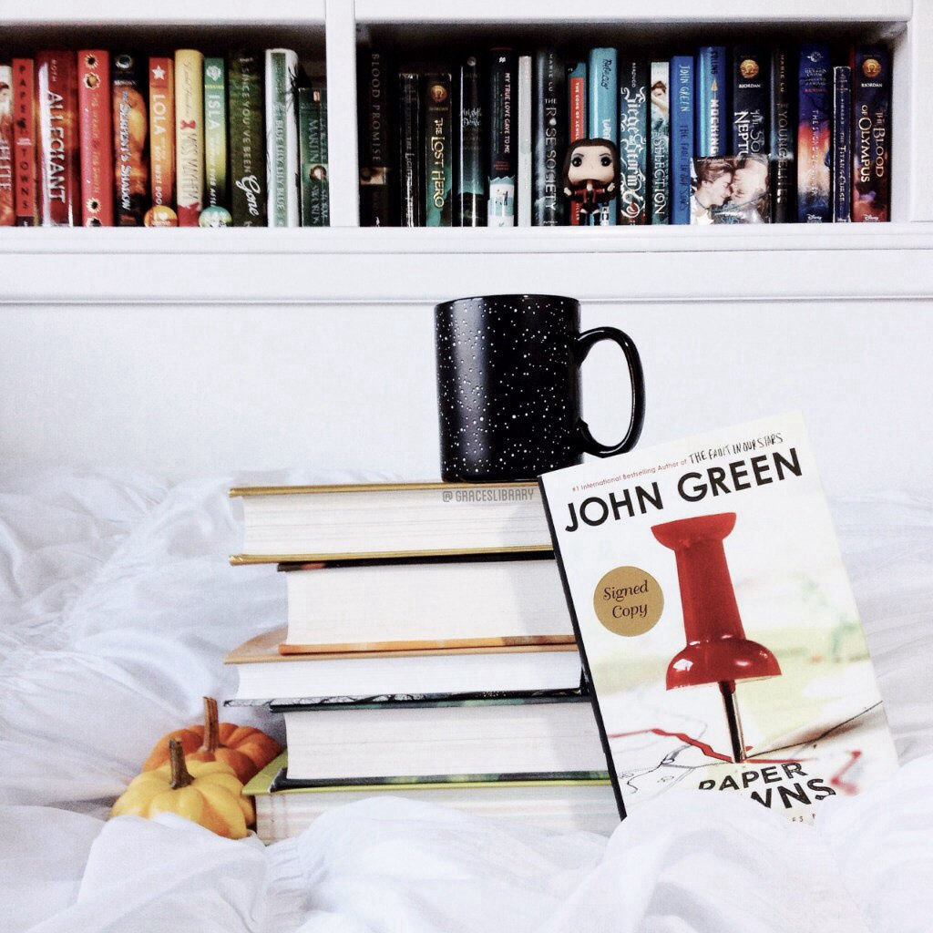 book, books, coffee, cup, john green, okay, paper towns, tea, tfios, the fault in our stars