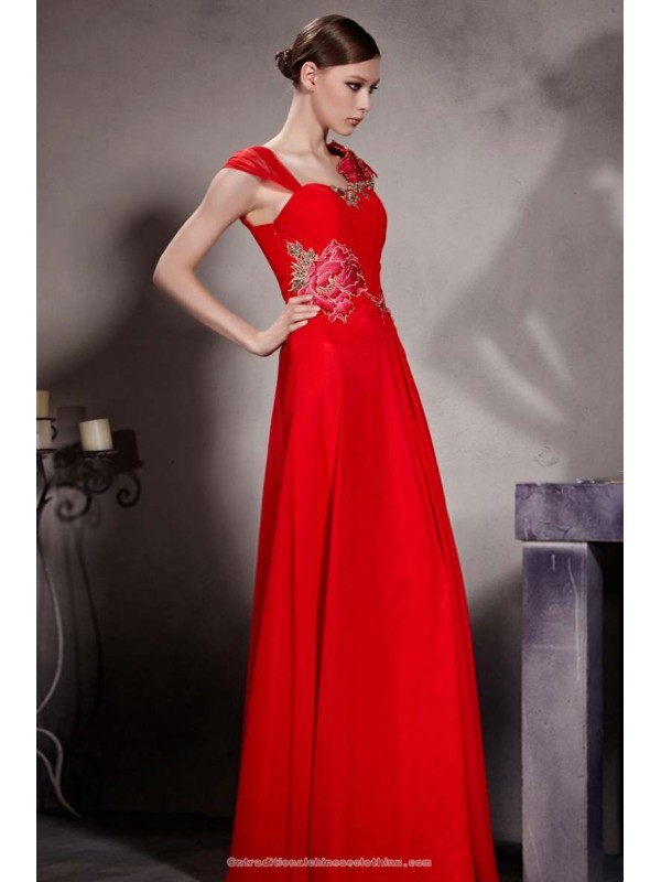 Embroidered peony floral silk satin floor length evening