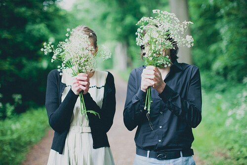 bouquet, boy, dress, flowers, forest, girl, grass, nature, no face, shirt, trees