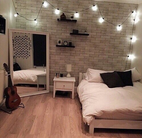 bed, brick, brick wall, clean, decor, guitar, lights, mirror, nice, photo, photography, picture, pillow, pretty, room, room decor, tumblr, wall, white, wood