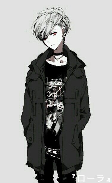 anime boy, black & white, boy, chains, jacket, manga, piercings, punk, red eyes, white hair