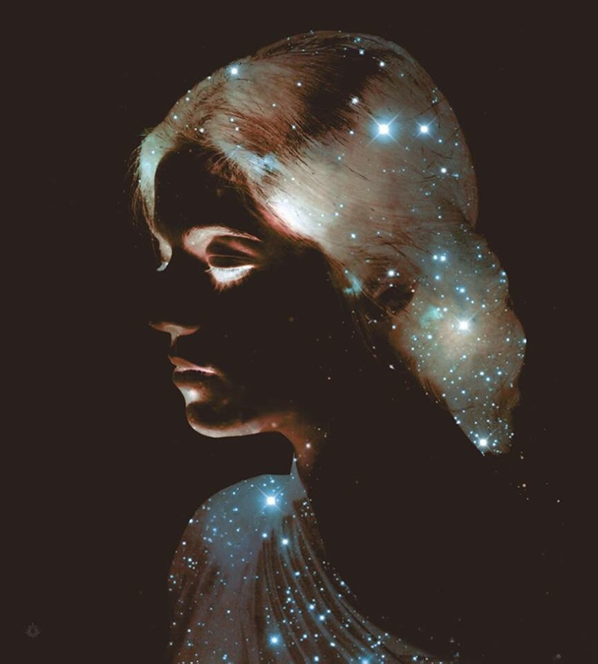 art, artist, beautiful, colour, colourful, drawing, galaxy, girl, painting, pretty, sketch, stars, surreal, vintage, oriol angrill jordà, spanish artist