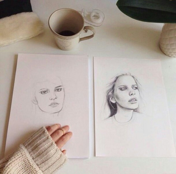 aesthetic, alternative, art, artist, coffee, draw, drawing, girl, nice, perspective, portrait