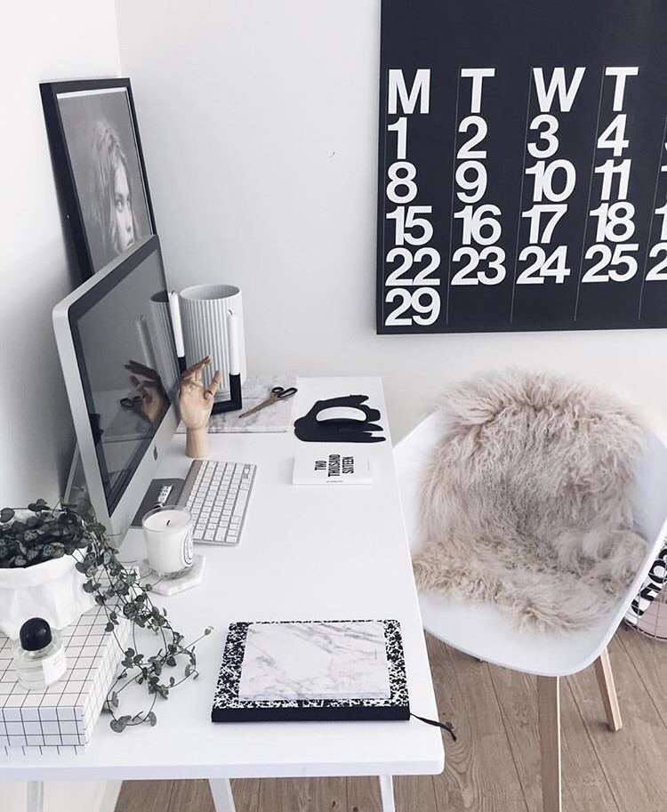 affair, apple, black and white, business, chic, classy, coffee, computer, desk, fashion, fur, girl, girly, morning, office, organizer, style, success, technology, work, business woman, businessgirl