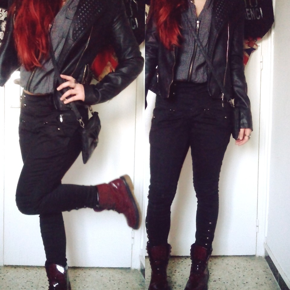 boots, doc martens, fashion, girl, grunge, leather jacket, lookbook, outfit, punk, redhead, style