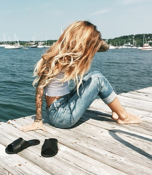 beach, blonde, fashion, girl, hair, jeans, sea, sommer, style, tattoos