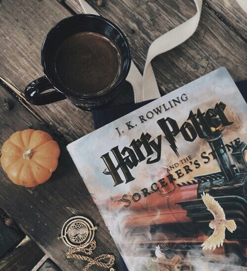 books, indie, tumblr, coffee, harry potter - image ...