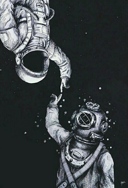 deep, space, black and white, astronaut, diver