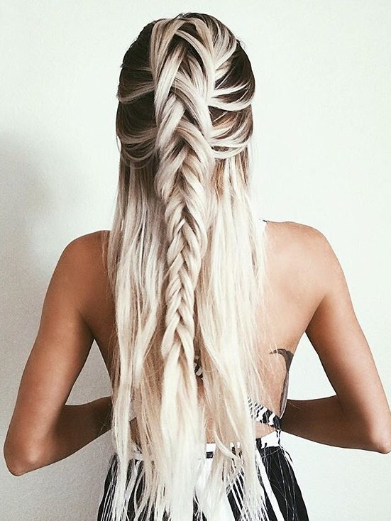 Braid Straight Hair Platinum Braided Hairstyle Hairstyles