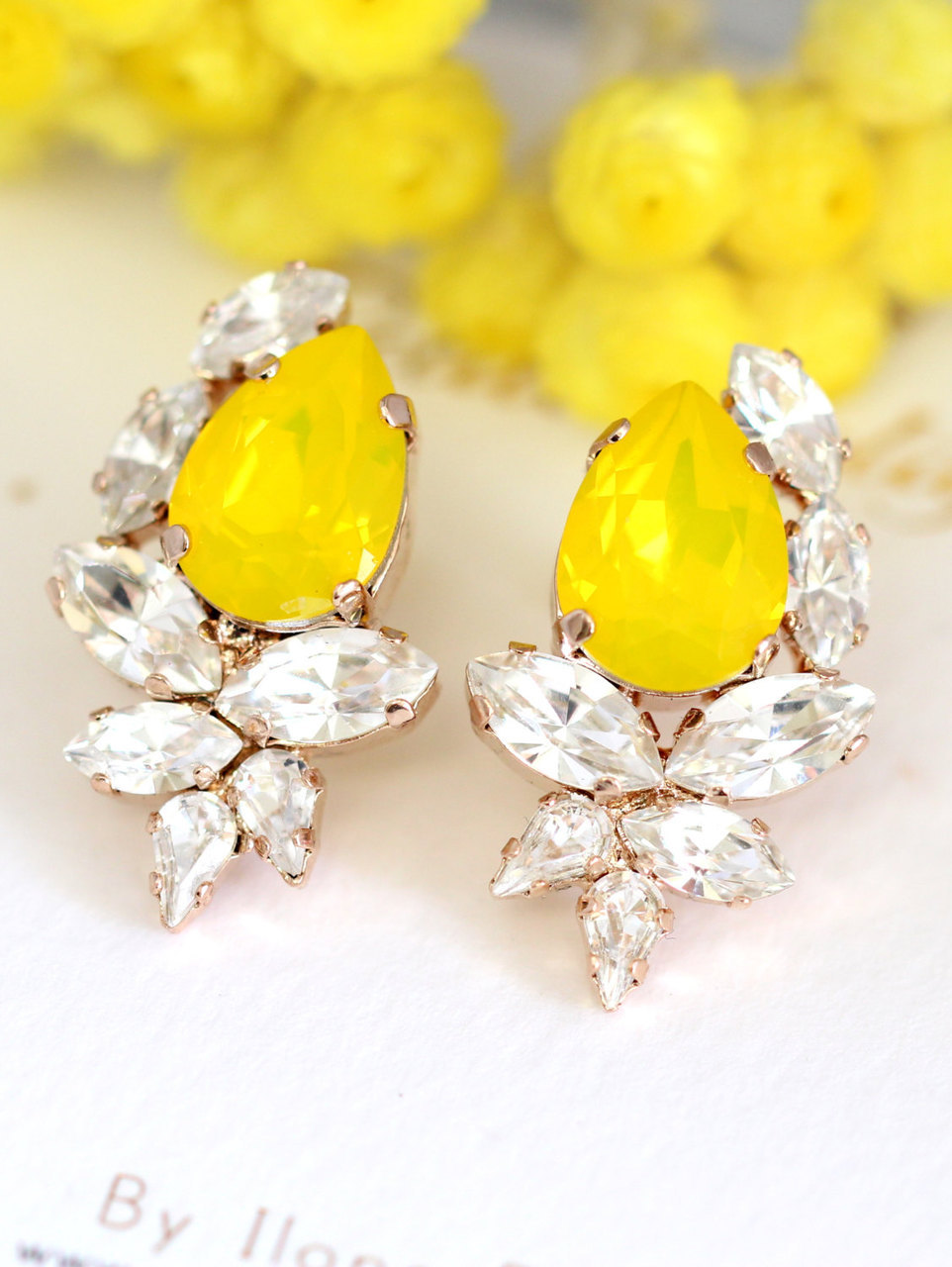 bridesmaids gifts, fashion, bridal, buttercup earrings, crystal earrings