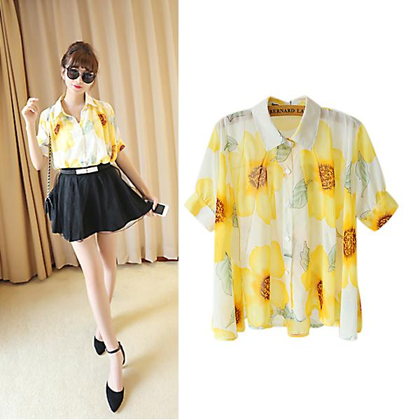 Glamour Gowns Tagged Size S The Deco Haus: Yellow Flower Pattern Casual Shirt, Fashion Camera Pendant