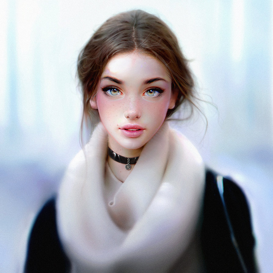 art, beautiful, beautiful girl, big eyes, digital art