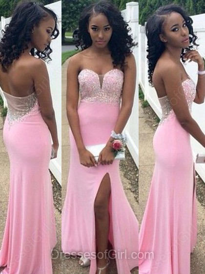 Sheath Column Sweetheart Pink Silk Like Satin Beading