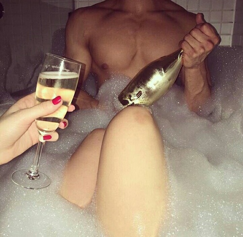 adorable, bath, bathtub, boyfriend, champagne