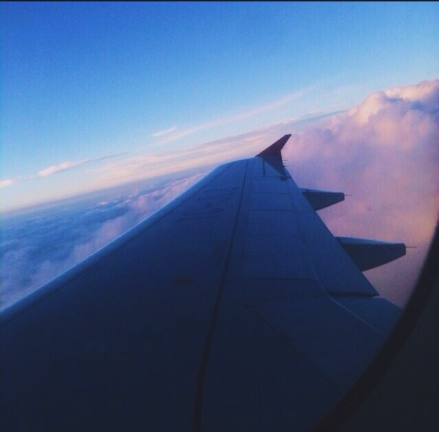 airplane, blue, clouds, flight, flying