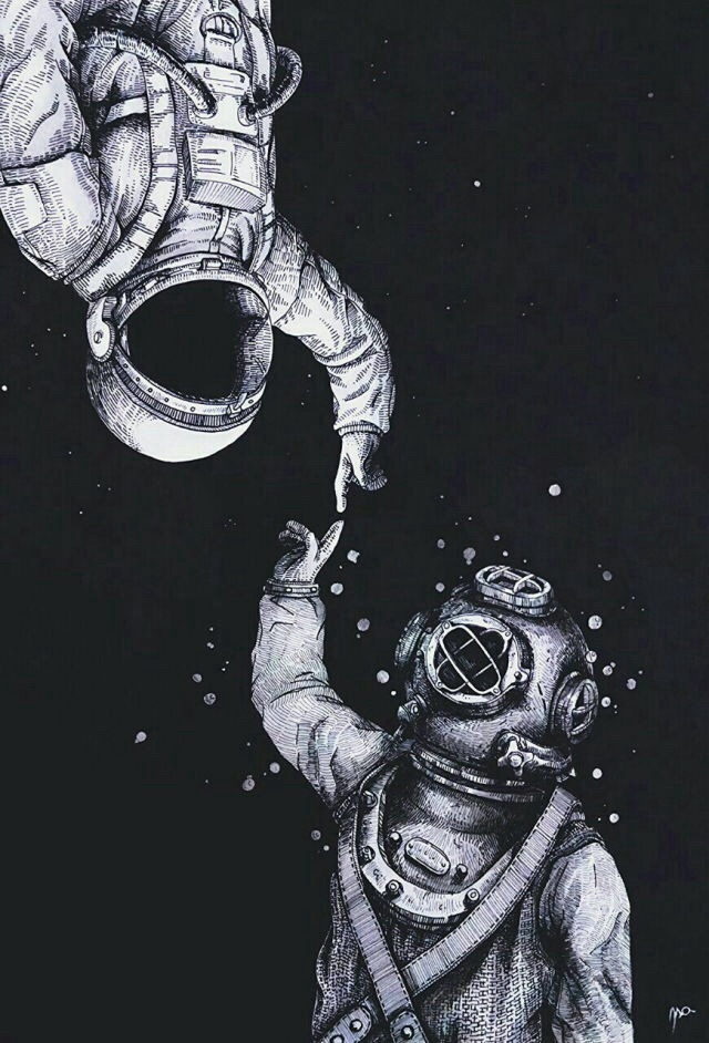art, astronaut, awesome, black and white, deviant art