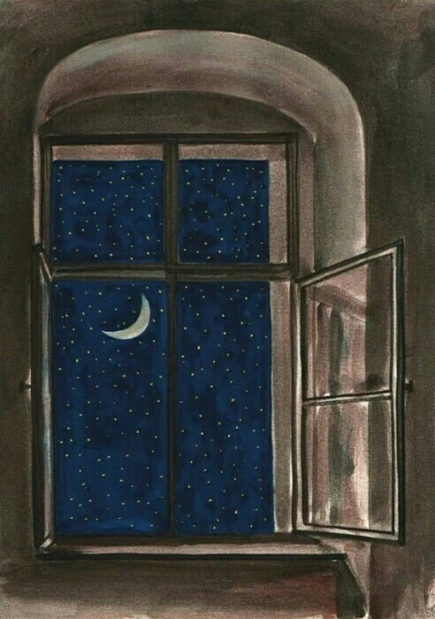 Draw Moon Night Stars Window Image 4393015 By