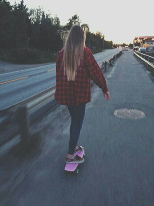 alone, girl, road, skate