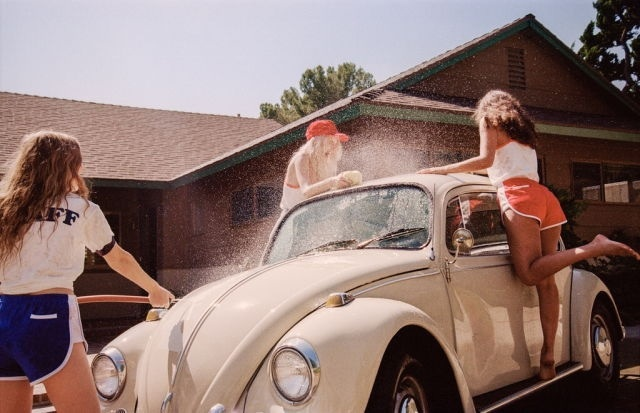 carwash, girl, girls, old car, summer