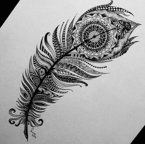 art, drawing, feather, ink, zentangle