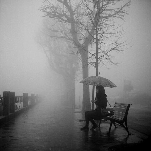 alone, black and white, cold, feelings, fog
