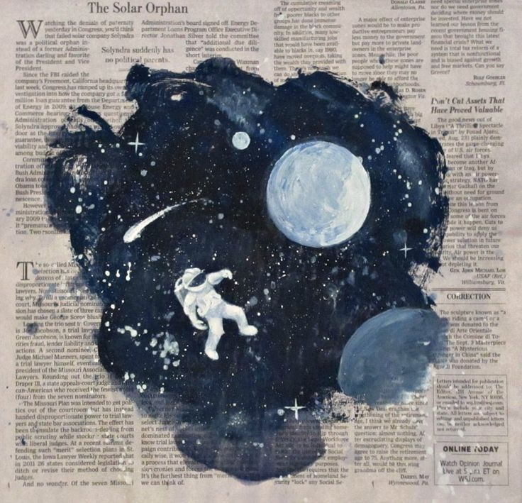 art, astronaut, moon, newspaper, space