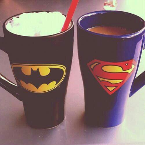 batman, black, blue, cup, superman