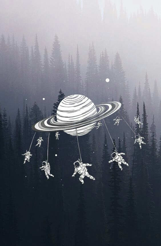 art, astronaut, grey, saturn, space
