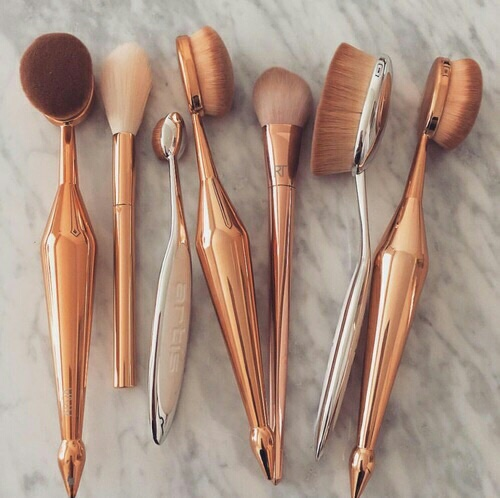 beauty, brushes, gold, luxury, makeup