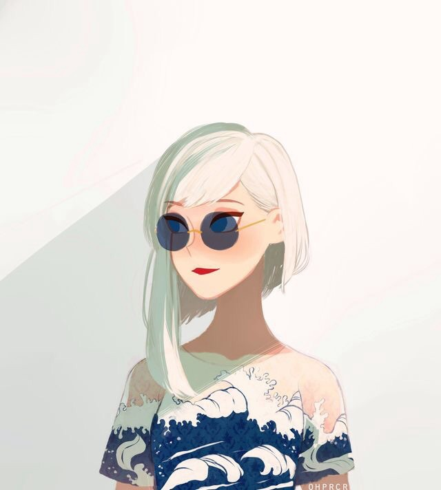 anime girl, beautiful, fashion, short hair, white hair