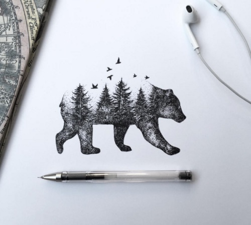 art, bear, forest, sketch, trees
