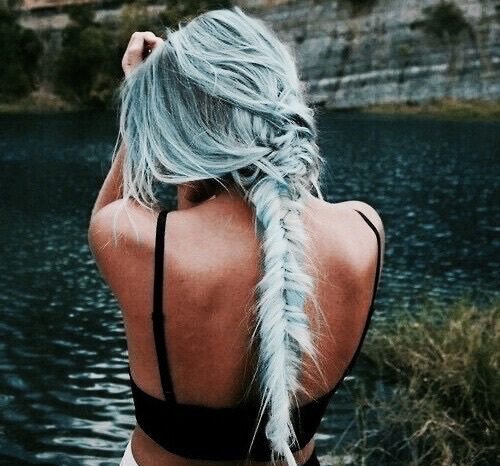 amazing, beautiful, blue hair, braid, fishtail