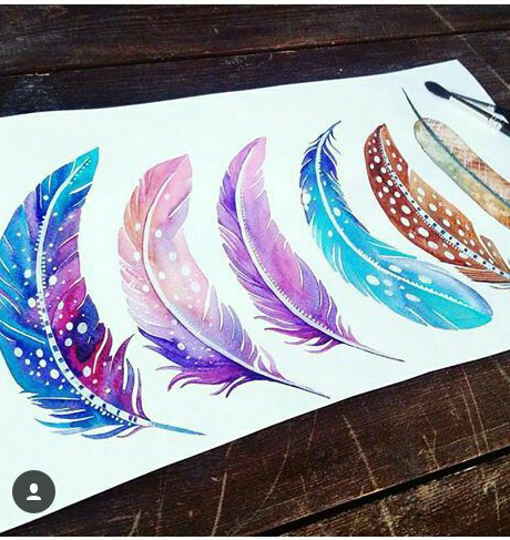 feathers, watercolor