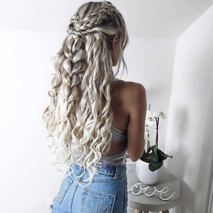 braid, curled, hair, long, ombre