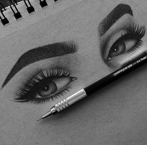 drawing, eyebrows, eyes, pencil, perfect