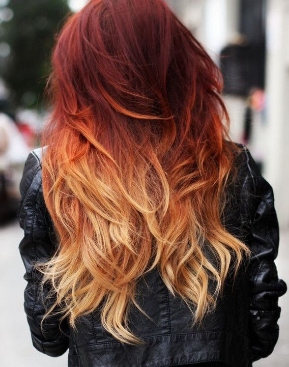 color, fire, fire hair, hair, ombre