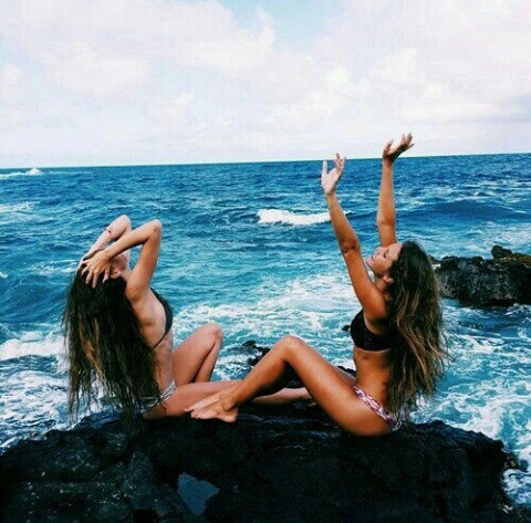 beach, best friends, blue, friends, girl