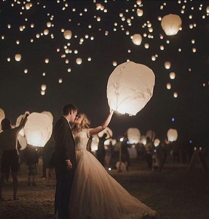 balloons, couple, love, night, outside