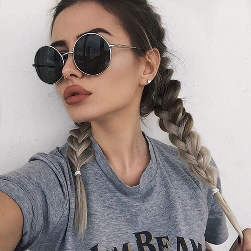 braids, girl, make up, sunglasses, tumblr