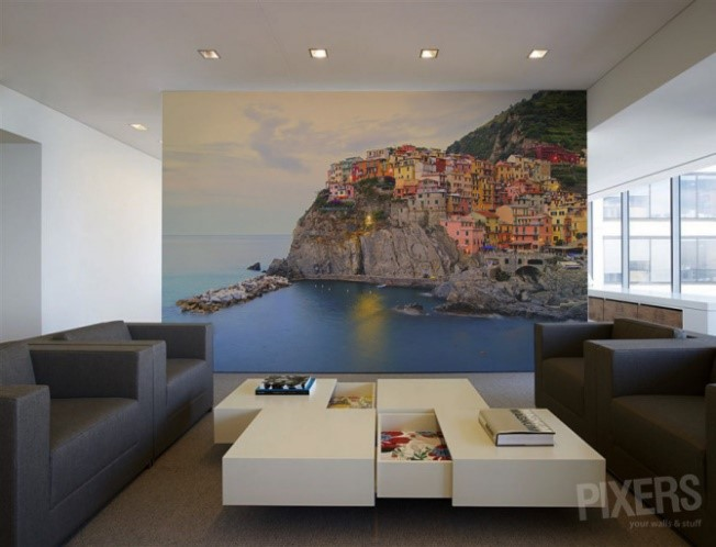 hill, office, sea, town, wall mural