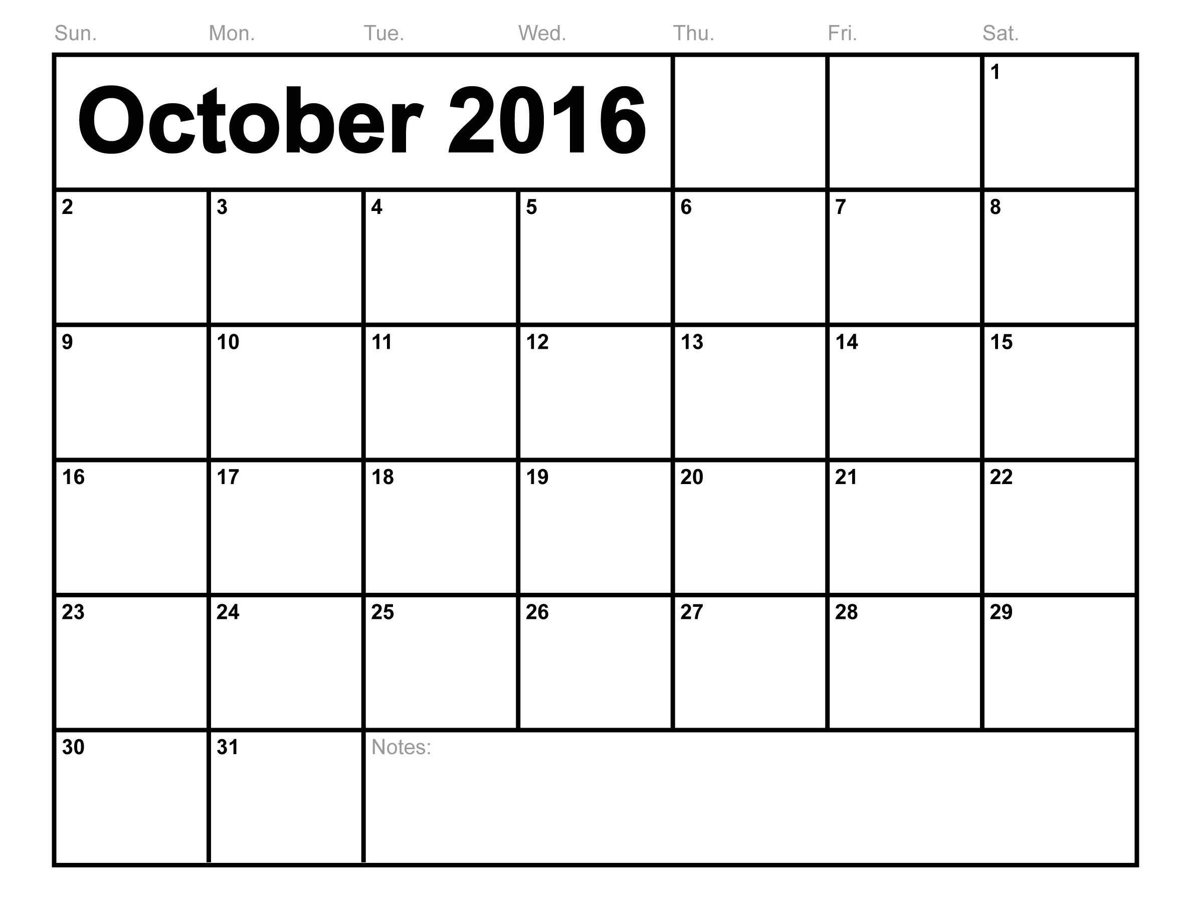 Blank 2016 October Calendar Images On Favim Com
