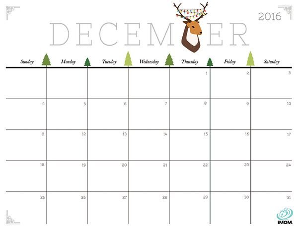 December Calendar 2016 Printable Pdf : December calendar printable holidays template pdf