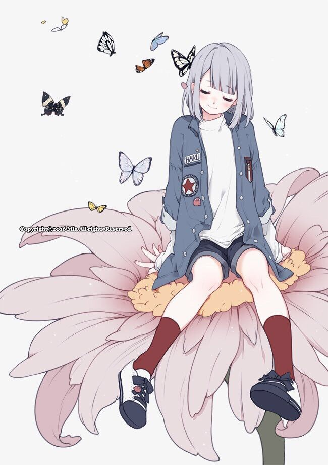 anime girl, butterfly, cute, flower