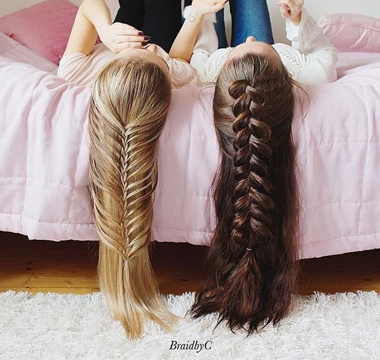 beauty, best friend, bff, blonde hair, braid