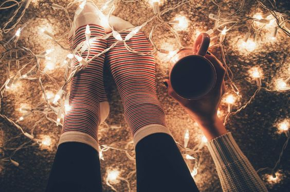 autumn, beautiful, christmas lights, coffee, cozy