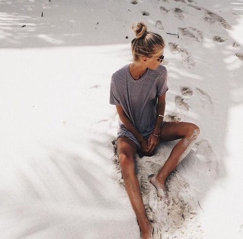 beach, brunette, bun, fashion, fit