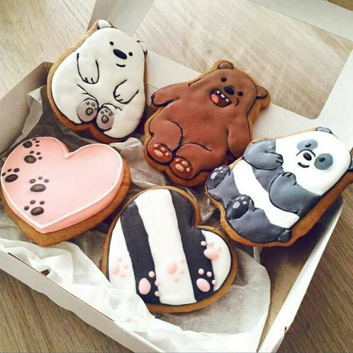 adorable, animals, bears, colorful, cookies