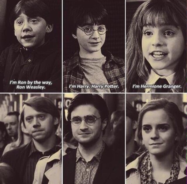 black and white, harry potter, hermione granger, movie, ron weasley